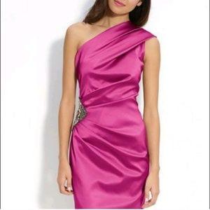 Eliza J pink one shoulder embellished dress size 6